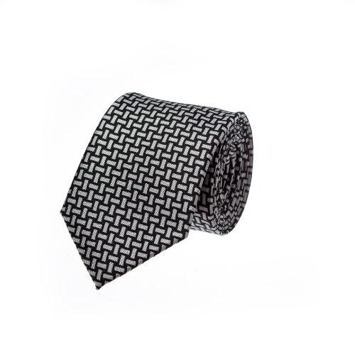 עניבה קלוע שחור לבן