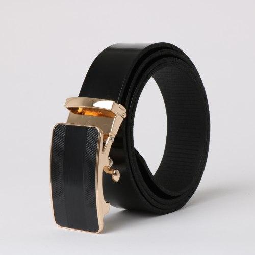 חגורת עור עם אבזם קלאץ' זהב/שחור