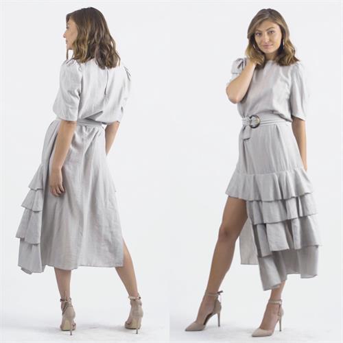 שמלת ולנסיה אסימטרית - אבן