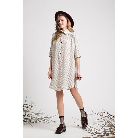שמלת ג'וי  קרפ מודפס