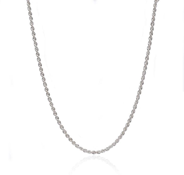 שרשרת חבל זהב לבן 45 סמ - עובי -2.1 ממ