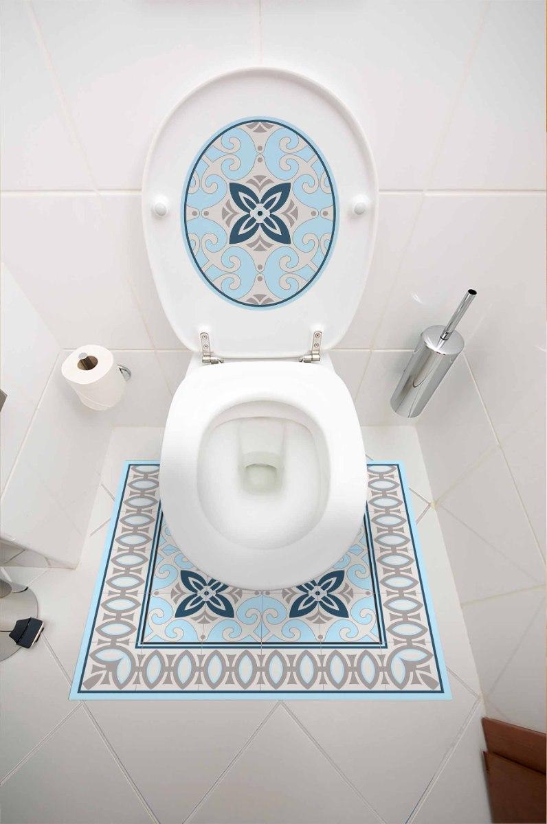 עיצוב איזור האסלה – מדבקה (39 ₪) שטיחון (88 ₪) סט (119 ₪) תכלת אפור TIVA DESIGN