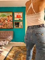 מאם ג'ינס כחול מידה M/L
