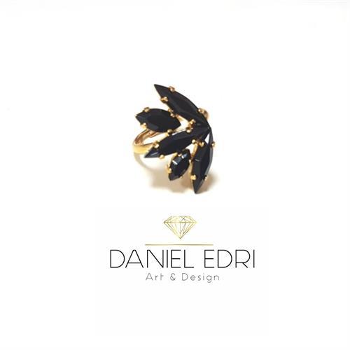 טבעת א-סימטרית - שחור זהב/כסף