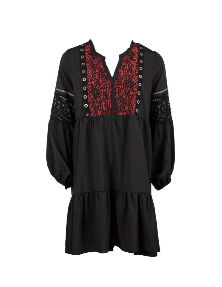 שמלת ויק שחור אדום