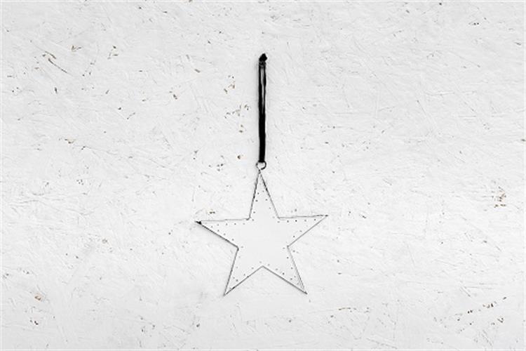 כוכב שטוח ממתכת - לבן  (גודל L)