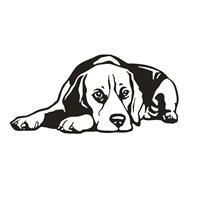 מדבקת קיר כלב שוכב