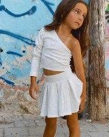 חליפת חצאית כתף אחת לבן