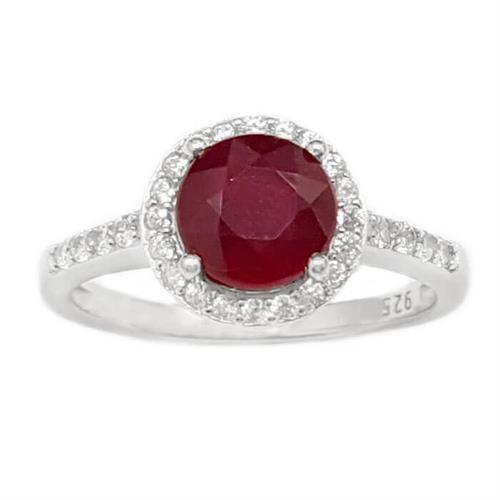 טבעת מכסף משובצת אבן רובי אדומה ואבני זרקון קטנות  RG1659 | תכשיטי כסף 925 | טבעות כסף
