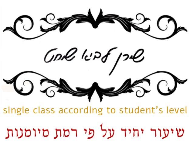 שיעור יחיד | על פי רמת מיומנות |  single class according to student's level