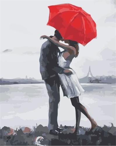 צביעה לפי מספרים - נשיקה תחת מטרייה