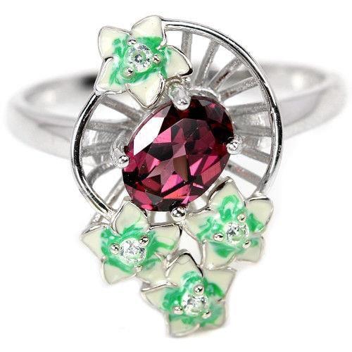 טבעת כסף משובצת אבן גרנט אדומה ופרחי אמייל  RG5704 | תכשיטי כסף 925 | טבעות כסף