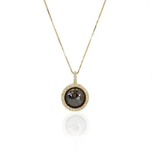 שרשרת יהלומים 4.35 קראט -  יהלום שחור רוז קאט פאסט ויהלומים לבנים