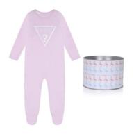 אוברול תינוקות ורוד בייבי לוגו גדול GUESS בנים  - 0-6 חודשים