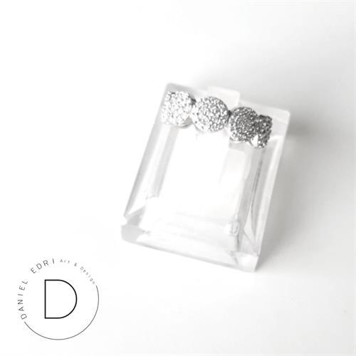 טבעת עיגולים משובצים- כסף 925