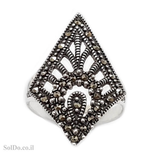 טבעת מכסף משובצת מרקזטים RG6218 | תכשיטי כסף 925 | טבעות כסף
