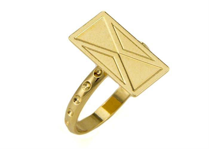 טבעת לונה זהב מבריק