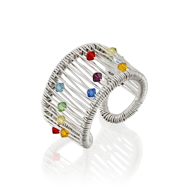 טבעת משי לבן ריינבו