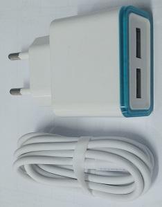 מטען קיר USB 5V 5A כולל 2 יציאות וכבל אייפון   משלוח מהיר