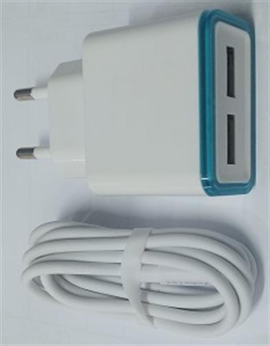 מטען קיר 5V 5A כולל 2 יציאות USB וכבל אייפון ועוד