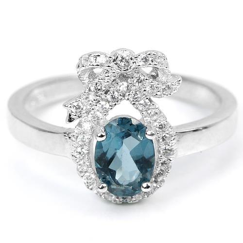 טבעת כסף משובצת טופז כחול וזרקונים RG4361 | תכשיטי כסף 925
