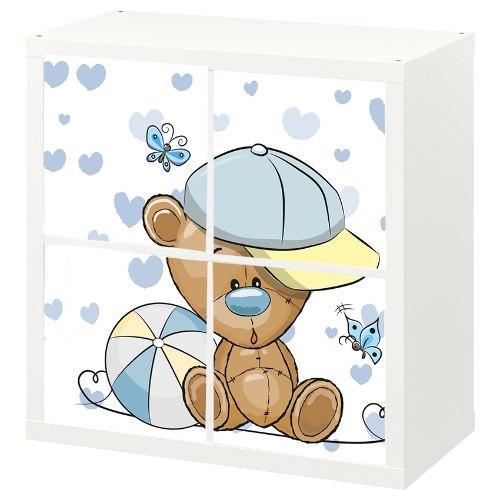 4 יח' טפט להדבקה על דלת כוורת (KALLAX)- דובי עם כדור