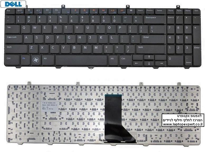 החלפת מקלדת למחשב נייד דל Dell Inspiron 1564 Black Keyboard AEUM6R00110 , 0XHKKF , V110546AS1