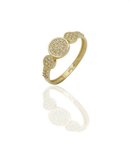 טבעת זהב עיגולים משובצים בזירקונים