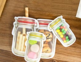 סט שקיות אטומות לאחסון מזון ושימוש רב פעמי