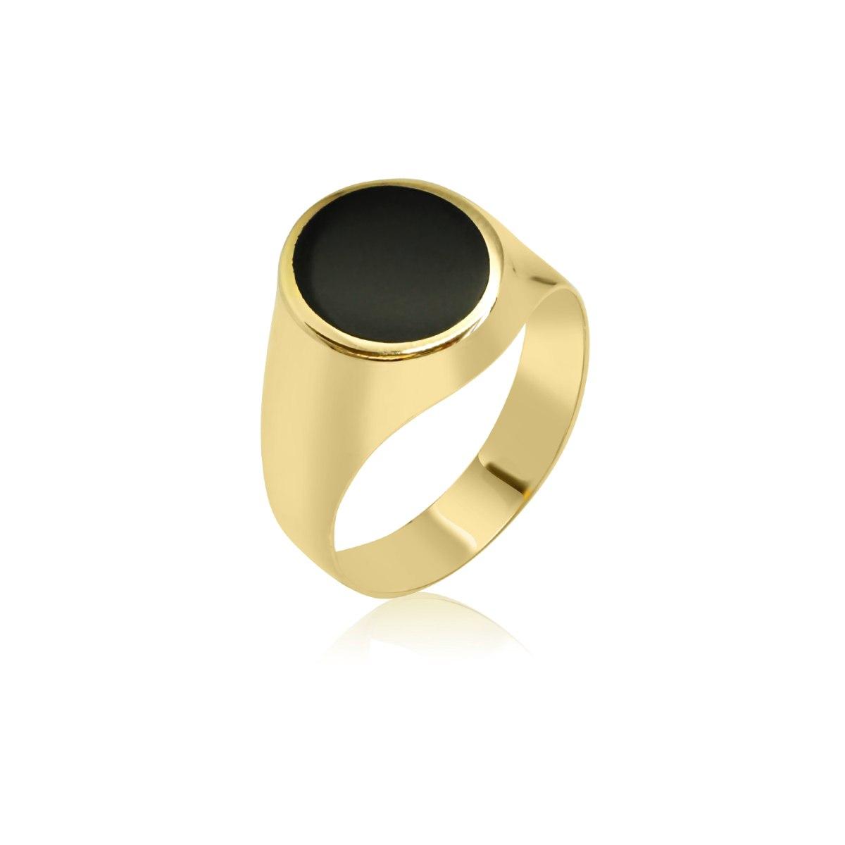 טבעת לגבר זהב עם אמייל שחור