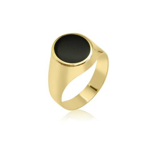 טבעת לגבר זהב אובלי עם אמייל שחור