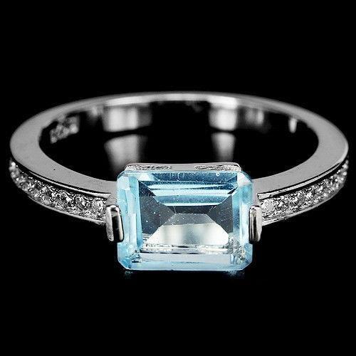 טבעת כסף משובצת טופז כחולה וזרקונים RG5658 | תכשיטי כסף 925 | טבעות כסף