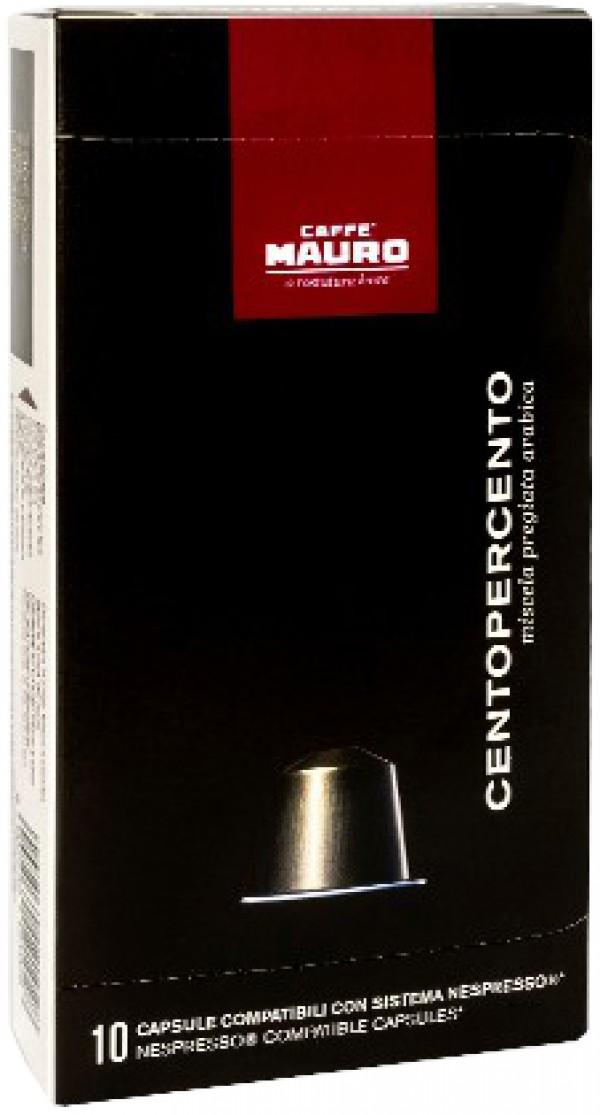 10 קפסולות תואמות נספרסו Caffe Mauro Centopercento