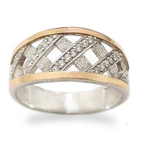 טבעת כסף רחבה מצופה זהב 9K משובצת אבני זרקון  RG5940 | תכשיטי כסף | טבעות כסף