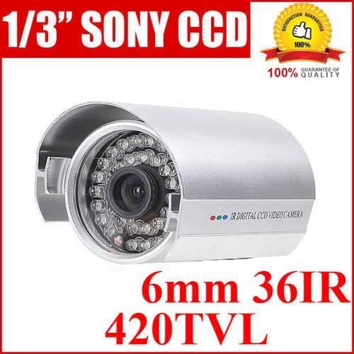 זוג מצלמות אבטחה מקצועית 6MM עמידה במים חיישן CCD של SONY עם ראיית לילה 36IR