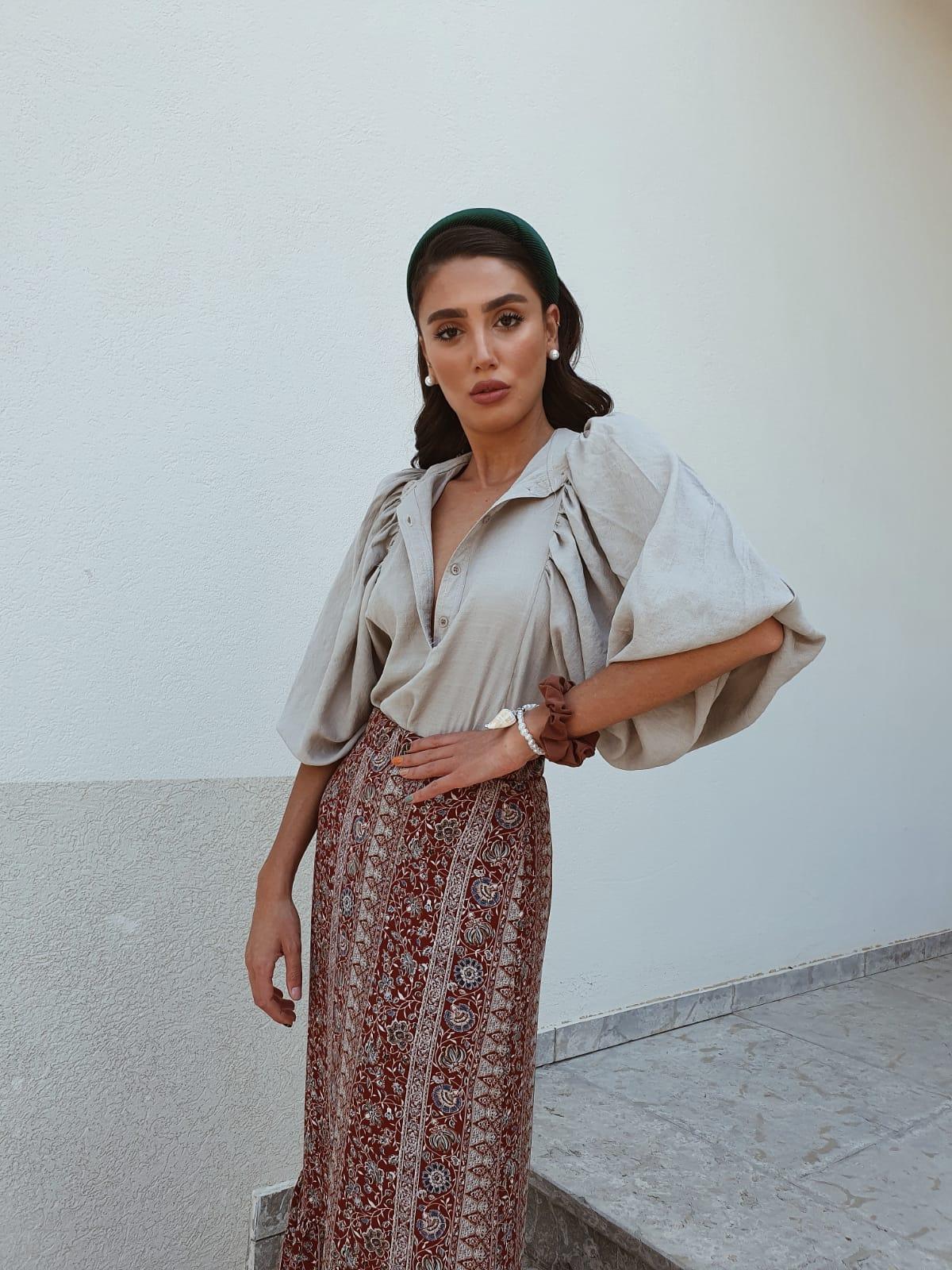 חצאית מקסי ברודווי - פרינט אתני בורדו