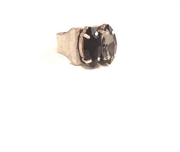 טבעת שני- שחור קריסטל