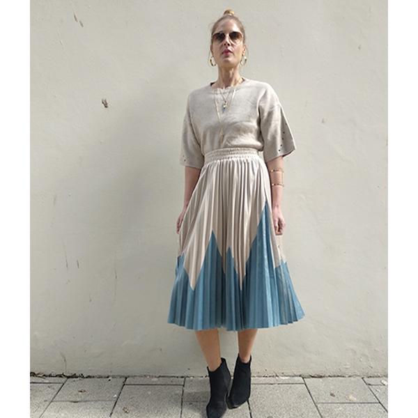 חצאית פליסה לולי - כחול/אבן