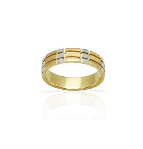 טבעת נישואין  משולבת צהוב ולבן מזהב 14 קאראט- דגם M39