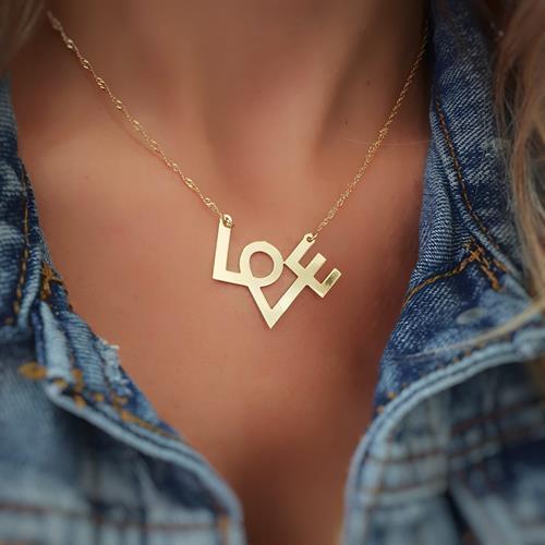 שרשרת LOVE עם חריטה אישית-כסף 925/גולדפילד