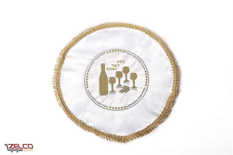 כיסוי למצה - דגם כוסות זהב - עיטור זהב