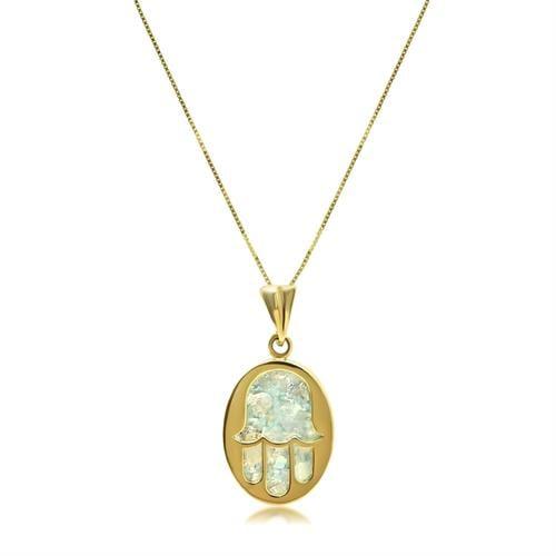 שרשרת זהב חמסה עם זכוכית רומי