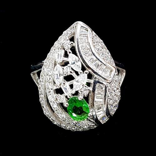 טבעת כסף משובצת אבן קוורץ ירון וזרקונים לבנים RG8313 | תכשיטי כסף 925