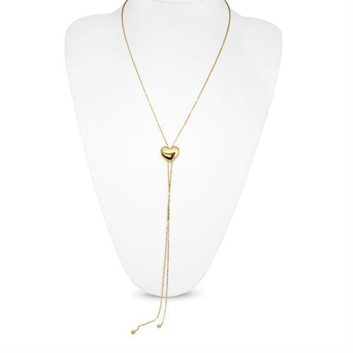 שרשרת עניבה זהב לב לבן \ צהוב