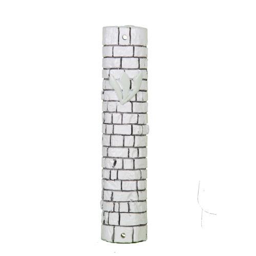 """מזוזה דמוי אבן לבנה 12 ס""""מ אבני כותל"""