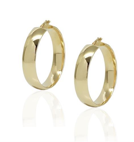 עגילי חישוק זהב רחבים לאישה 3.4 סמ