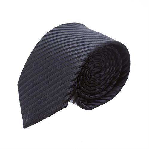 עניבה פסים דקים שחור אפור