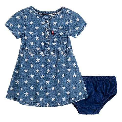 שמלת ג׳ינס כוכבים עם תחתון LEVIS - מידות 12-24 חודשים