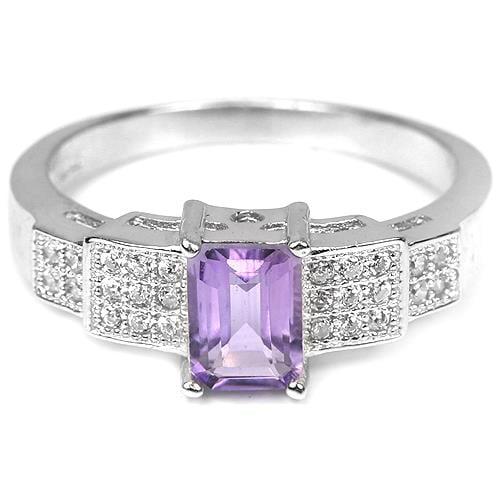 טבעת משובצת אמטיסט סגול וזרקונים RG5210