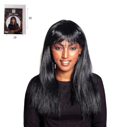 פאה שיער שחור חלק ארוך עם פוני